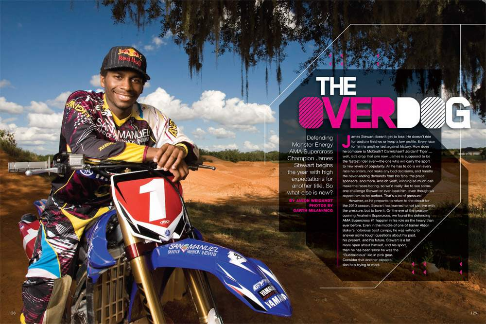 Expectations are high as James Stewart prepares to defend his AMA Supercross Championship. He's used to it. Page 128.