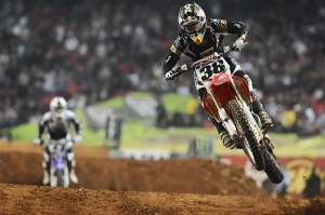 Trey Canard hit the podium in his second SX class race.