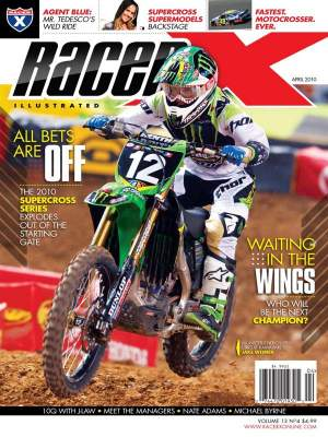 Jake Weimer earned his first Racer X cover with our brand new April 2010 issue
