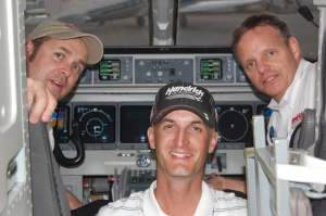 Hendrick Motorsports pilots (L to R): Robb Patton, Michael Broyles (Mission Aviation Fellowship pilot) and Chris Logan.