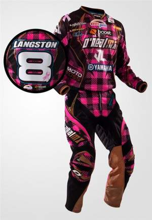 Langston's supporting the cause this weekend with pink gear, courtesy of O'Neal. Here's guessing he won't be the only one.