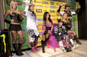 Chelse (left), Miss Supercross Mercedes Terrell (middle), and Ashleigh Carr (right) on the podium this past weekend.