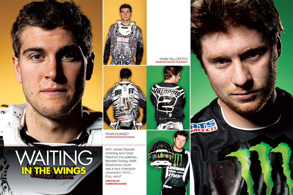 The surprise early-season Monster Energy AMA Supercross Championship contenders, photographed by Cameron Baird. Page 202.