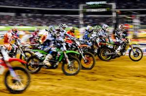 If not for the pileup from behind him, Austin Stroupe (45) would've come out with the holeshot and the early lead. Instead, he finished fifth.