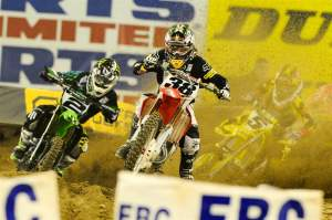 Trey Canard grabbed a massive holeshot and finished third, which was his third-consecutive podium finish, in his fourth-ever 450cc race.