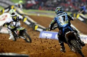 Justin Barcia chases Christophe Pourcel in the Atlanta main.