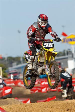 Racer X's Billy Ursic got to ride Lucas Crespi's BTOSports.com/BBMX/Palmetto Suzuki in the Junior Plus 25 class.