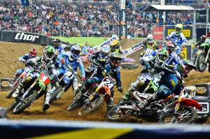 Justin Barcia (17) got the holeshot to start the Lites main.