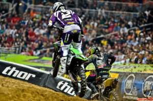Then Dungey (5) was forced to the outside in an on/off section, and Villopoto (2) dived to the inside. They hit...
