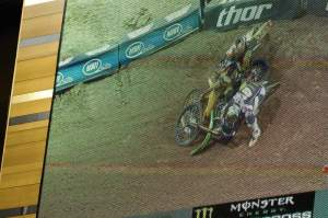 ...and then they both went down. Villopoto got up in the lead.