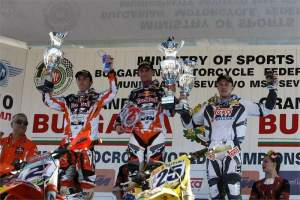 Max Nagl (center) used a 1-2 to win the MX1 overall over Tony Cairoli and Clement DeSalle.