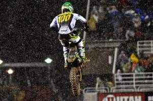Hansen kept jumping the jumps despite the rain.
