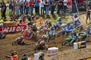Trey Canard (38) got the holeshot in the first moto, but by the time the riders came in from the back on the first lap...