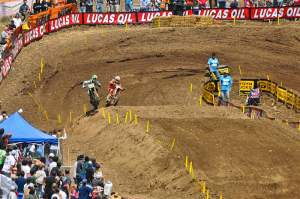 On the last lap, this is the pass for the lead. Pourcel is nearly put off the track, but Searle thinks better of it. Check the next few shots in the sequence, too.