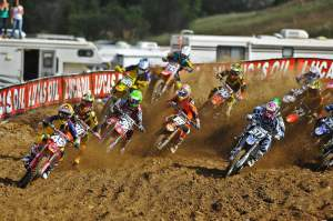 Wil Hahn (49) got the second-moto holeshot before it was red-flagged...