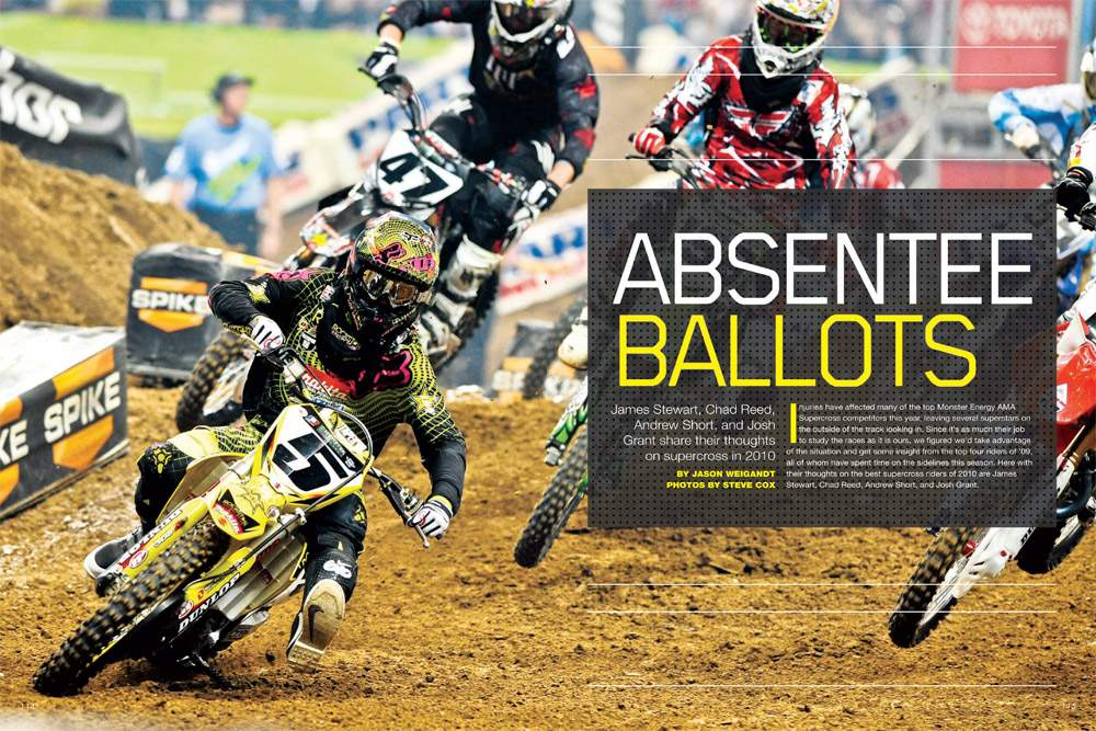 We asked the world's fastest spectators—James Stewart, Chad Reed, Josh Grant, Andrew Short—rate the 2010 AMA Supercross contenders. Page 114.