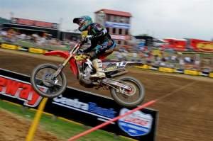 Justin Barcia won the opening moto, but had bike trouble after a collision early in moto two.