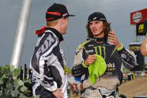 Pourcel and Canard talk over their second-moto battle on the podium.