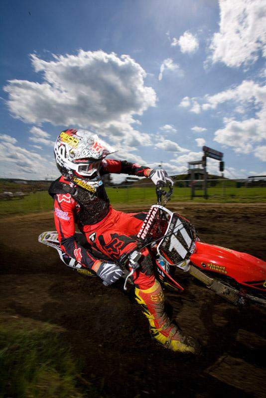 Justin Barcia rides the track at High Point