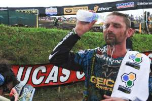 Brett Metcalfe cleans up after his third-place finish.