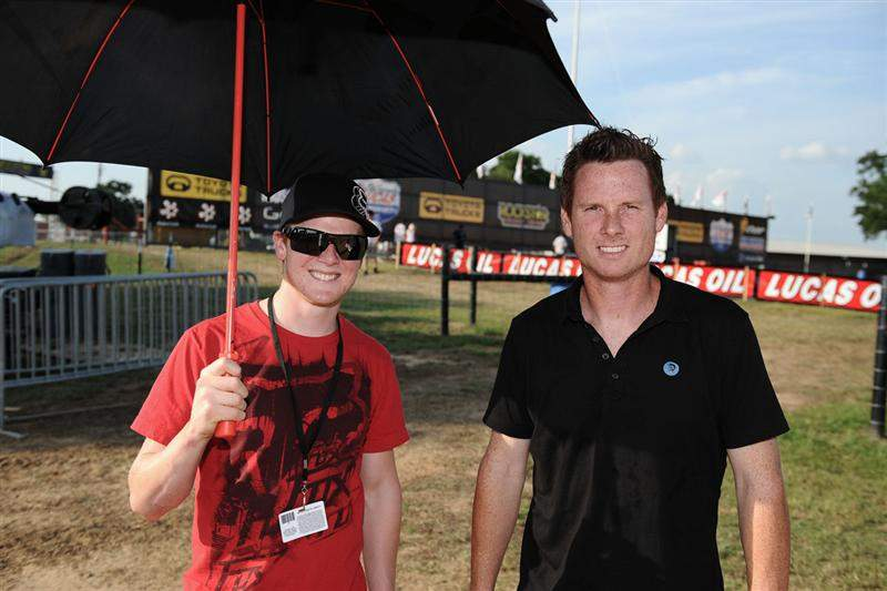 Trey Canard (left) and Timmy Ferry (right). Redheads unite for a track walk!