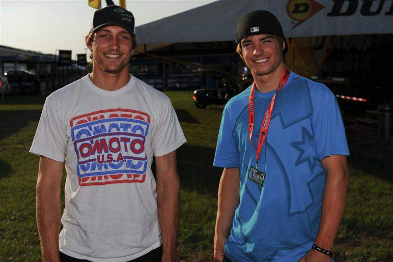 Kyle Chisholm and Broc Tickle prepare for a track walk.