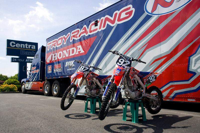 Honda of Troy bikes and the rig at the Centra Bank