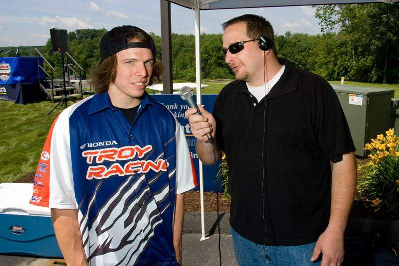 Darryn Durham talks to a local radio station.