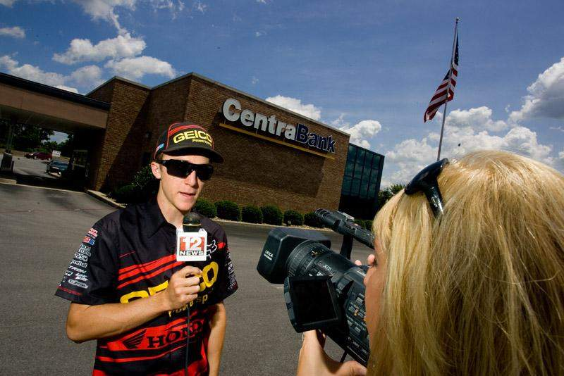 Eli Tomac being interviewed for TV.
