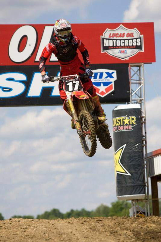 Justin Barcia crosses the finishline jump at High Point