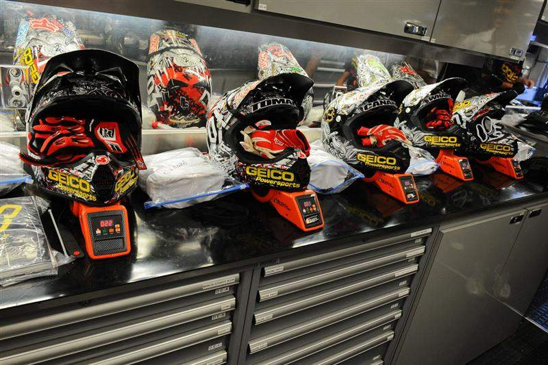 The GEICO Powersports Honda lids waiting for action.