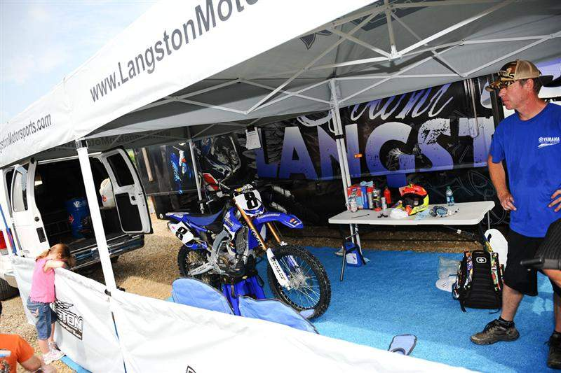 Langston's pit area: The bike was driven cross-country this week in Langston's van. Langston picked up the bike from Langston Motorsports, rode it twice over last weekend, and now he's racing.