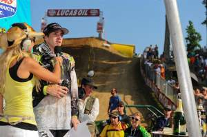 Dean Wilson is interviewed by Erin Normoyle in front of a legion of fans at Budds Creek.