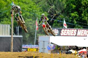 Pourcel leads Canard after Canard caught him late in the first moto.