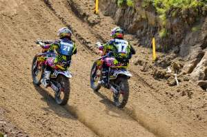 Teammates Blake Wharton (21) and Justin Barcia (17) go at it for fourth early in the first 250cc moto. Wharton went 5-7 for sixth overall.