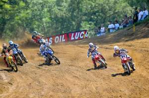 Kevin Windham (14) grabs the opening-moto holeshot at Millville.