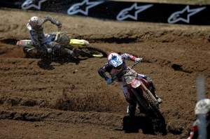 Ben Townley (101) leads Ryan Dungey (5) in the first moto. Townley led until the last lap, when he fell.