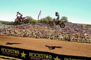Townley flies in formation with Dungey during the first-moto battle, in front of thousands of lucky fans.
