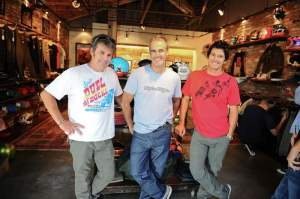 Troy Lee, Doug Bunting and Mondo Marron in the TLD store they designed.