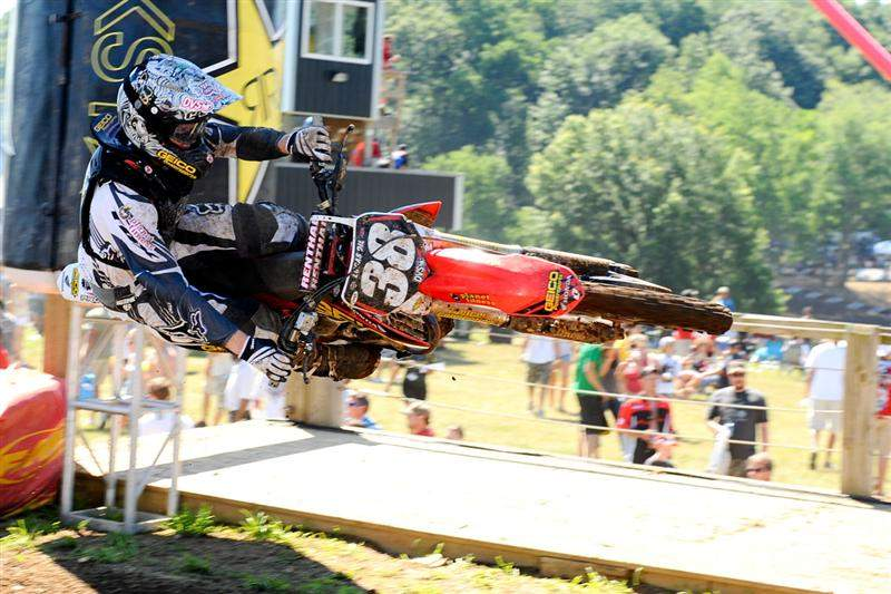 Trey Canard lays it flat in practice.