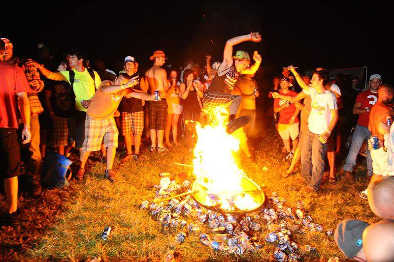 The party-goers were rowdy, but in a fun way, in the camping area last night.