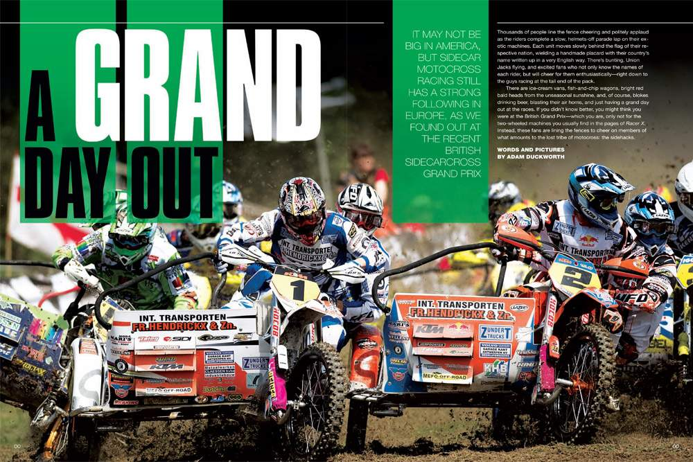It's sidecar madness as we head to the England's south coast for the British Sidecarcross Grand Prix, a racing spectacle unlike any other. Page 168.