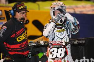 Brent Presnell (left) helps his longtime (and only) rider Trey Canard get ready for a main event.