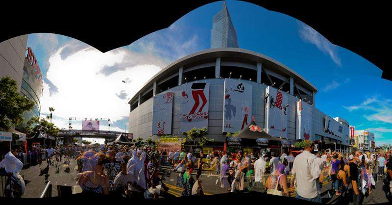 Here's a pieced-together panorama of the X Games area by Staples.