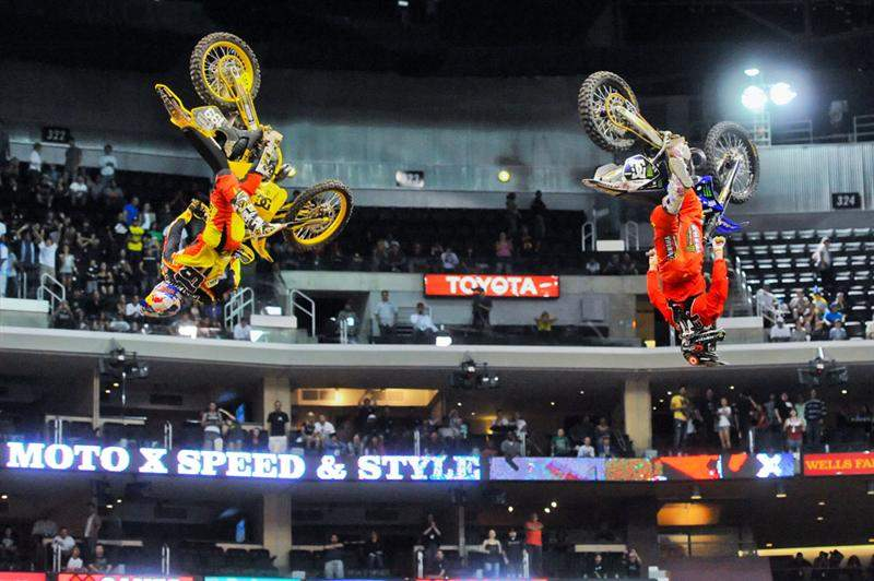 After winning the gold over Nate Adams (right), Pastrana (left) and Adams took flight for synchronized nac-nac backflips.