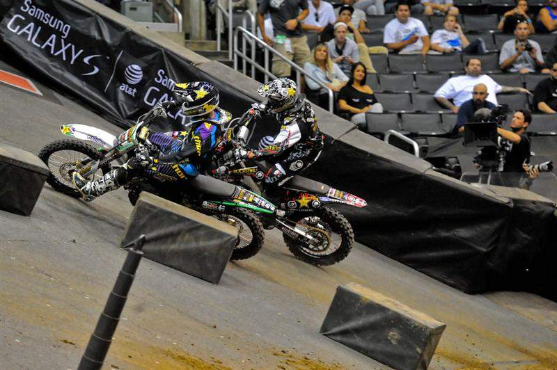 The first race for Stenberg pitted him against Mulisha buddy Brian Deegan (outside). Stenberg won.
