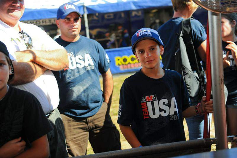 Jake Pinhancos, in the Team USA garb, was the 65cc racer on Team USA's FIM Junior Motocross World Championship team, which won gold a few days ago.