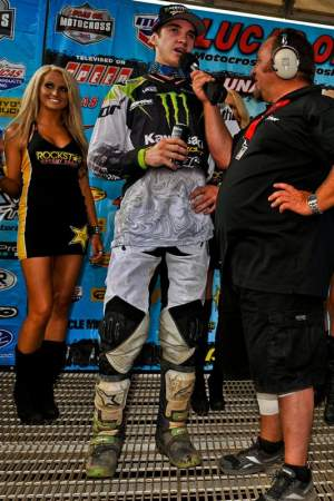 Dean Wilson is interviewed after his podium finish at Unadilla.