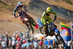 Trey Canard (2) chased down Jay Marmont (21) earlier in the moto, but Marmont came back later, then fell.