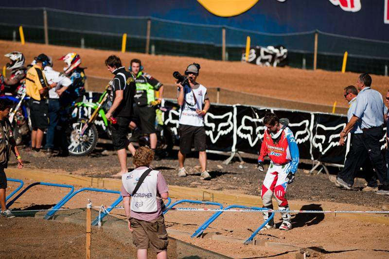 The UK was stuck with last gate pick in qualifying. Here, Dean Wilson packs his horrendous starting spot.